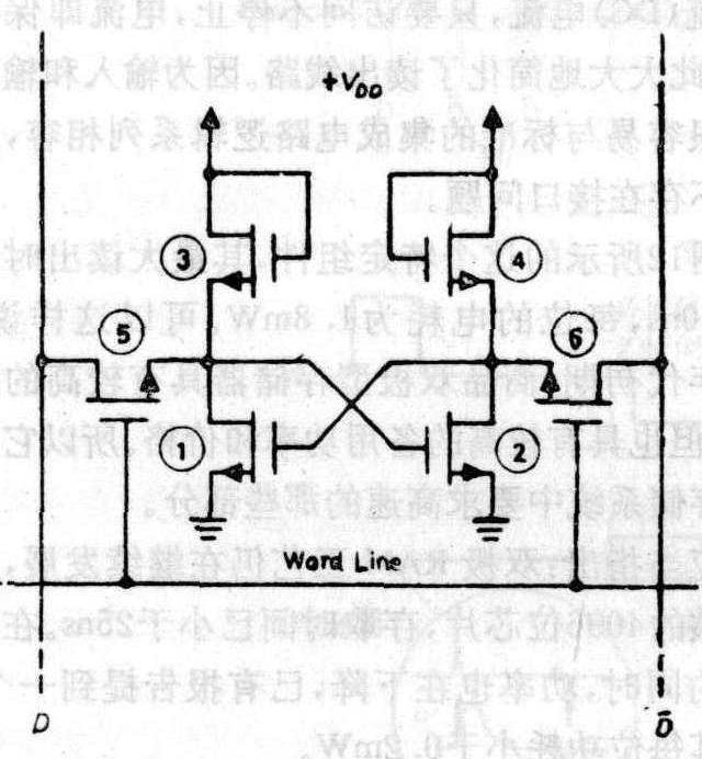 晶体管1和2是触发器晶体管,而晶体管3 和4提供负载电阻.